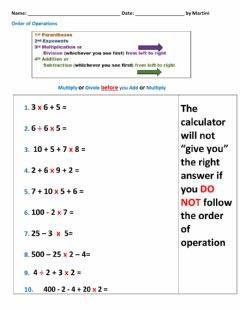 Ficha interactiva Order of Operations - Multiply or Divide first