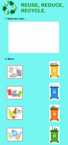 Interactive worksheet Reduce, reuse, recycle