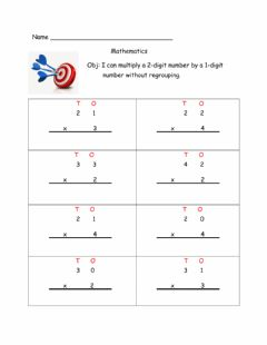 Ficha interactiva Multiplication- 2d x 1d without regrouping