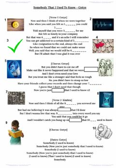 Interactive worksheet Song - Gotye - Somebody that I used to know