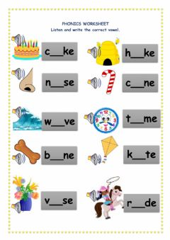 Interactive worksheet Long Vowel Sounds