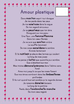 Interactive worksheet Amour Plastique