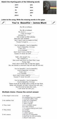 Interactive worksheet You're Beautiful