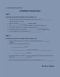 Interactive worksheet Listening evaluation