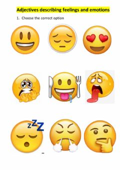 Ficha interactiva Adjectives to describe feelings and emotions with emojis