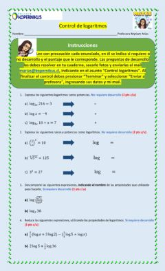 Interactive worksheet Control logaritmo