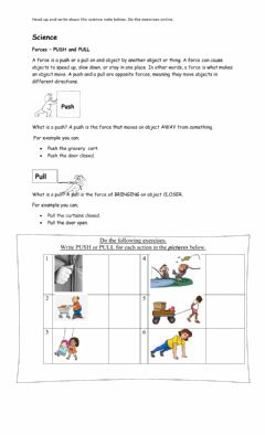 Interactive worksheet Forces- Push and Pull