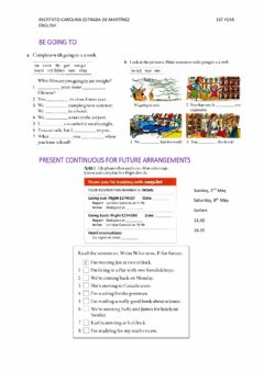 Interactive worksheet Be going to and present continuous