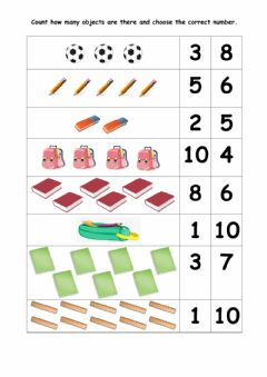 Interactive worksheet Count the objects