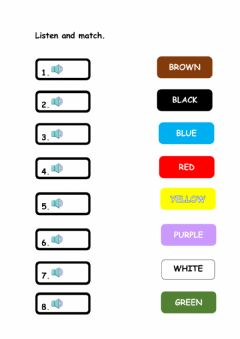 Interactive worksheet Listen and match the colors