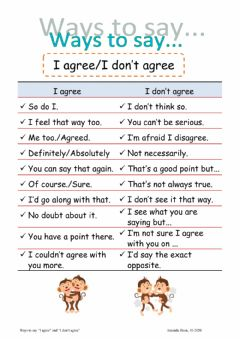 Interactive worksheet Ways to say agree and disagree