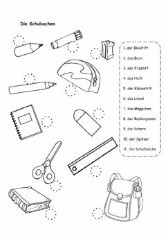 Interactive worksheet Schulsachen