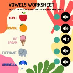 Interactive worksheet VOWELS SOUND WORKSHEET