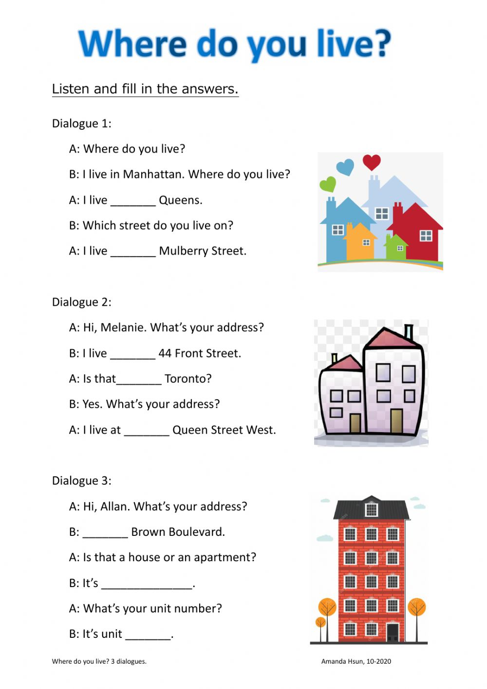 Where Do You Live Worksheet It is important to note, that we need a wide range of adjectives and knowledge on our favorite cases. where do you live worksheet