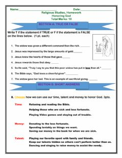 Interactive worksheet Honoring God