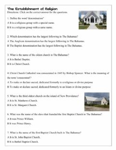 Interactive worksheet The Establishment of Religion in The Bahamas