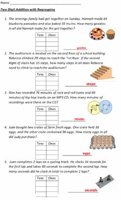 Interactive worksheet Adding with regrouping Tens and ones