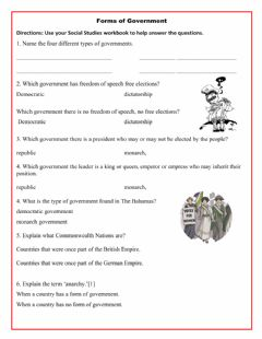 Interactive worksheet Forms of Government