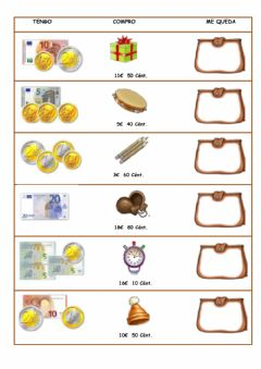 Interactive worksheet Monedas y billetes 4