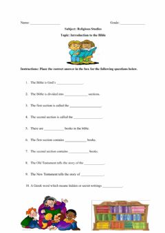 Interactive worksheet Introduction To The Bible