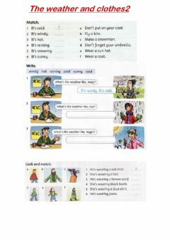 Interactive worksheet The weather and clothes2