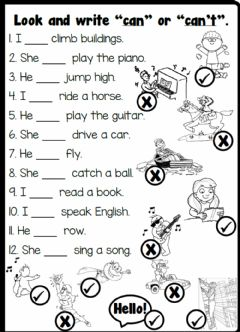 Interactive worksheet 4.3. Cartoon Characters - Action Verbs & Can - Can't