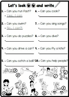 Ficha interactiva 4.3. Cartoon Characters - Action Verbs & Can - Can't