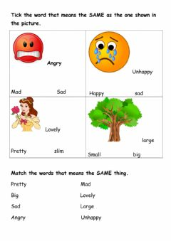 Interactive worksheet Synonyms