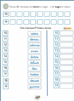 Interactive worksheet Numeració 10 al 19