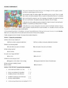 Interactive worksheet Reading comprehension year