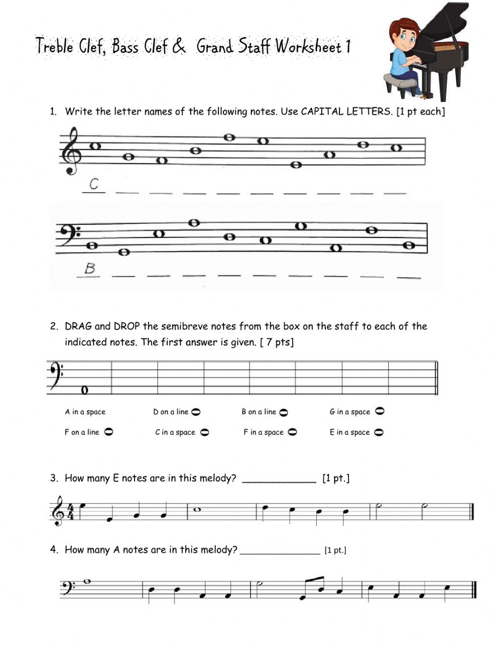 Treble Clef, Bass Clef & Grand Staff worksheet With Regard To Treble Clef Notes Worksheet