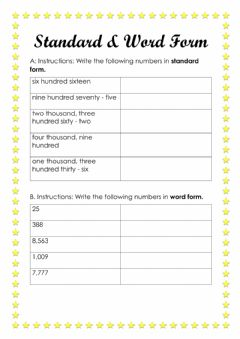 Ficha interactiva Standard and Word Form