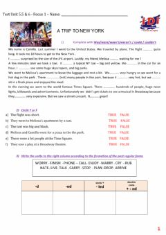 Interactive worksheet Simple Past Test Focus 1