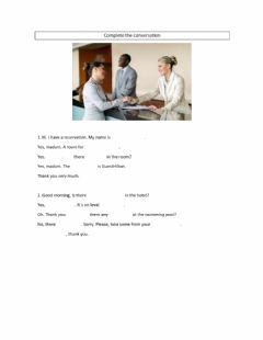 Interactive worksheet At the reception desk,Listen and choose