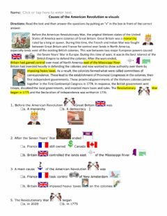 Interactive worksheet Causes of the American Revolution w visuals