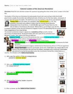 Interactive worksheet Colonial Leaders of the Revolutionary War w visuals