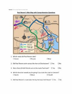 Interactive worksheet Paul Revere Map and Questions