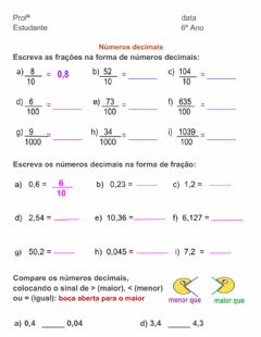 Interactive worksheet Números Decimais