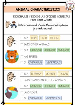 Interactive worksheet Animal classification