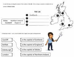Interactive worksheet Countries and capitals of the UK