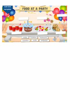Ficha interactiva Food at a party- vocabulary2