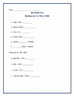Interactive worksheet Multiply and Divide by 10, 100 and 1000