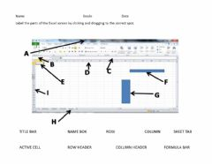 Interactive worksheet Parts of the Excel Screen