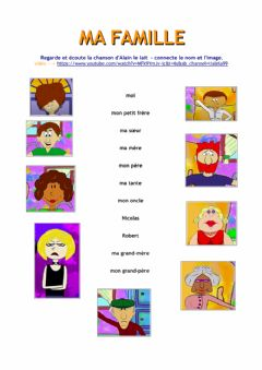 Interactive worksheet Ma famille (Alain le Lait)