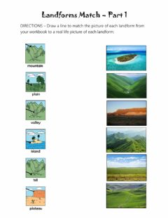 Interactive worksheet Landforms Match - Part 1