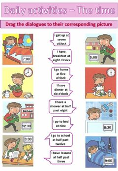 Interactive worksheet Daily activities and time