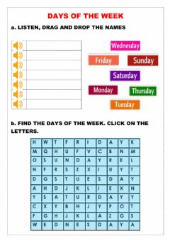 Interactive worksheet Drag And Drop the Names-Wordsearch