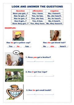 Interactive worksheet Look and answer the questions