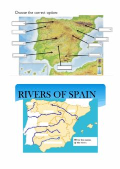 Interactive worksheet Rivers and mountains-spain
