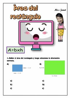 Interactive worksheet Área del rectángulo